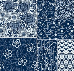 traditional japanese seamless vector patterns