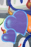 Hearts. Detail of graffiti on wall