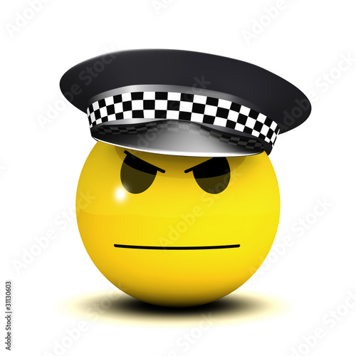Officer smiley isn't smiling