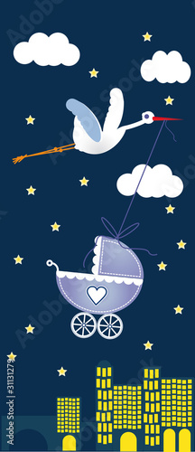 baby card with stork - night