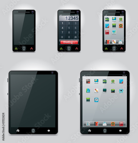 Vector tablet computer and mobile phone icons