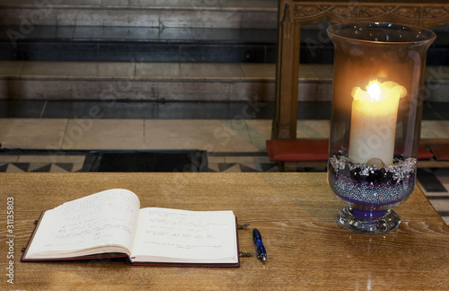 Book of condolence inside catherdral