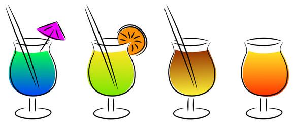 verschiedene cocktails in farbe