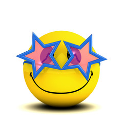 3d Smiley has star sunglasses