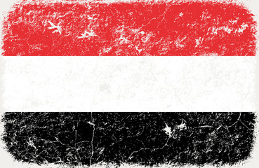 grunge styled flag of yemen