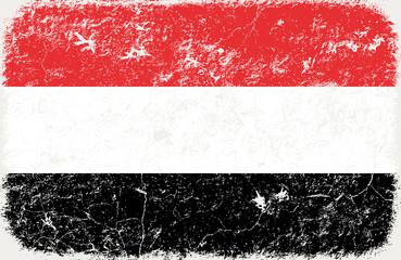grunge styled flag of yemen