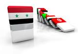 Syrie effet domino révolte république arabe 3D illustration poster
