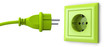Leinwanddruck Bild - Green power plug and outlet