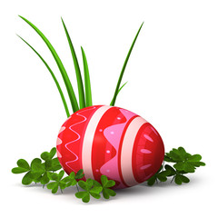 Strawberry pattern easter egg with clover and grass