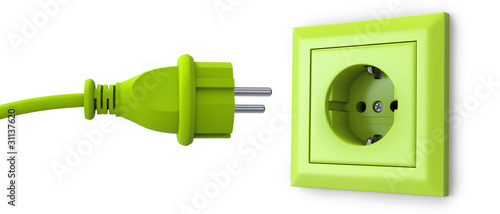 Leinwanddruck Bild Green power plug and outlet