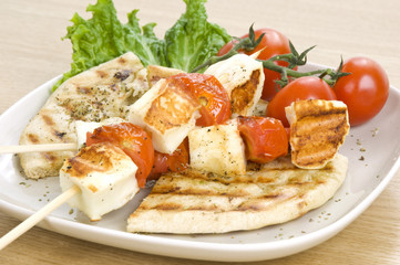 grilled cheese(haloumi) and tomato souvlaki