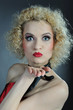 Beautiful show cabaret girl with bright stage make-up. expressio