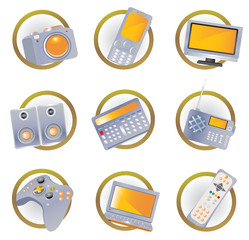 Hi-tech equipment icons