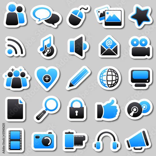 social Media Blue stickers