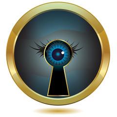Eye in keyhole golden button.Vector