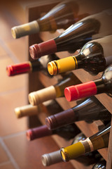 Wine bottles in rack, vertical