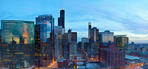 Beautiful city of Chicago at twilight