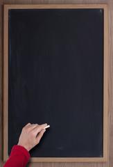 blackboard and hand