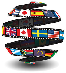 Film strip containing flags in the shape of the globe/sphere