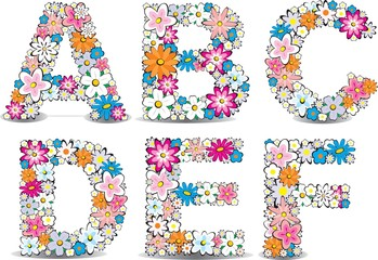 Vector flowers alphabet