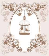 Vintage background with flowers and birds in cage.