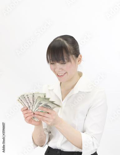 Japanese woman counting money