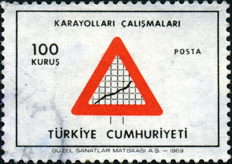 Turquie, Attention travaux. Timbre postal. 1969.