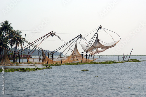 Chinese fishing nets. Vembanad Lake, Kerala, South India