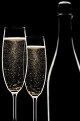 Backlit champagne flutes