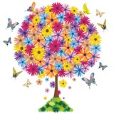 Albero in Fiore-Primavera-Flowers on Tree-Springtime-Vector