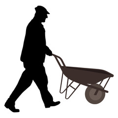 Worker with wheelbarrow