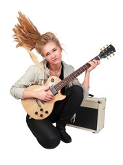 Passionate rock Girl Playing An Electric Guitar