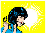 Popart comic Love illustration of Angry Woman On Phone Retro Cli