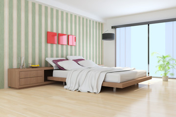 3D indoor bedroom rendering