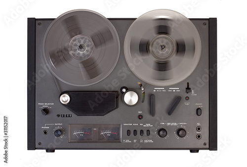 reel tape recorder on a white background