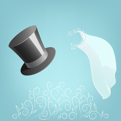 Top hat and wedding veil with floral ornament