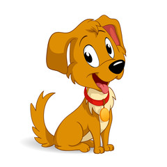 Cute cartoon vector puppy dog