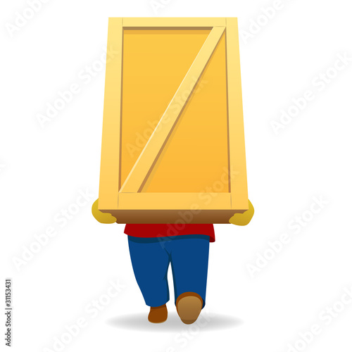 Cartoon man carry big wooden container