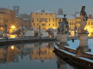 Italy, Padua: Prato della Valle square during a winter morning