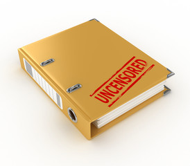 yellow ring binder with uncensored stamp isolated on the white