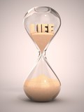 life time passing concept - hourglass 3d illustration poster
