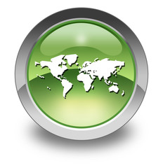 "Green Glossy Pictogram ""World Map"""