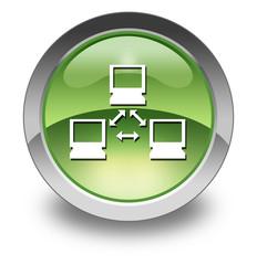 "Green Glossy Pictogram ""Network"""
