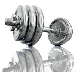 Chromed dumbbell in close up side view. 3d