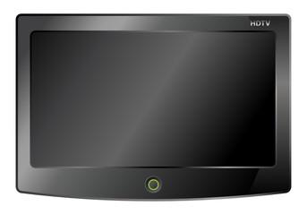 black lcd tv screen hanging on