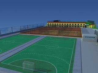 centro sportivo rendering 3d calcio tennis