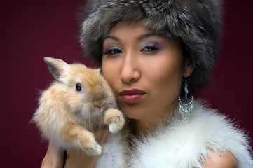 beautiful woman with rabbit