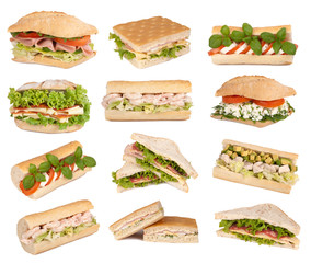 Sandwiches isolated on white