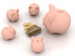 large and little piggy banks look at a purse with chinks