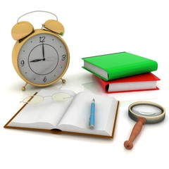 books with a clock and glasses on white background